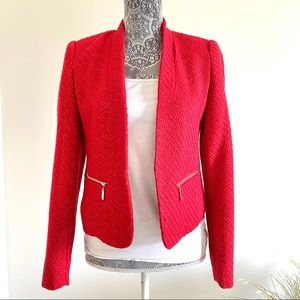 Wool Red Blazer with zipper pockets